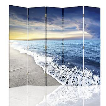 Room Divider, 5 Panels, Double-Sided, 360 ° Rotatable, Canvas, Coast