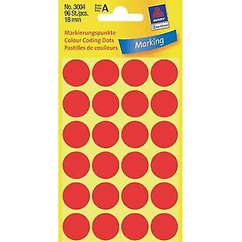 Avery Labels 3004 18Mm Mark Red Pkt