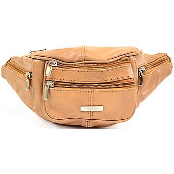 Mens / donna / Womens Leather Bumbag / marsupio con cinghia regolabile in vita - Tan
