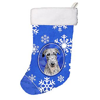 Scottish Deerhound Winter Snowflakes Christmas Stocking