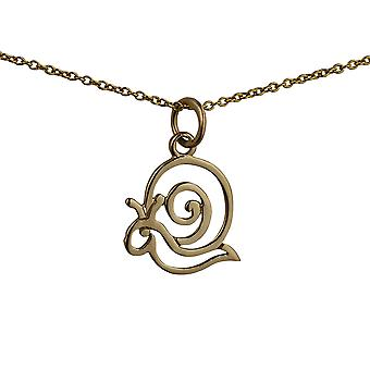 9ct Gold 15x17mm pierced Snail Pendant with a cable Chain 16 inches Only Suitable for Children