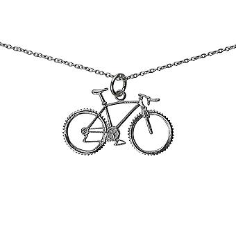 Silver 17x29mm Bicycle and Cyclist Pendant with a rolo Chain 14 inches Only Suitable for Children