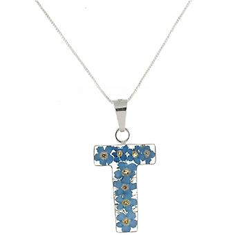 Shrieking Violet Sterling Silver Forget Me Not Flowers T Initial Pendant