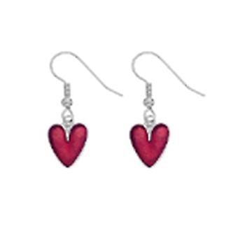 Red Enamel Love Heart Drop Earrings