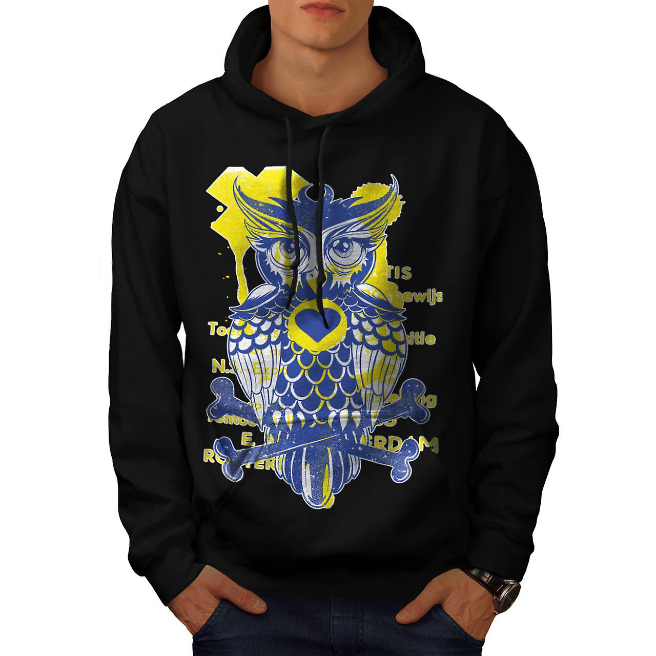 Owl Heart Bone Animal Men Black Hoodie | Wellcoda