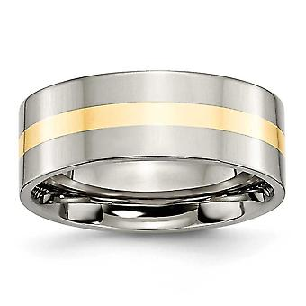 Titanium 14k Gold Inlay Flat 8mm Polished Band Ring Size 9.5