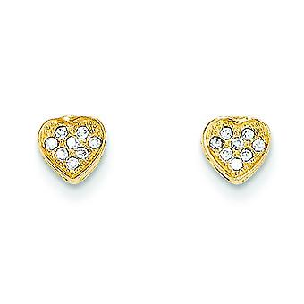 14k Yellow Gold Polished Cubic Zirconia Heart Post Earrings