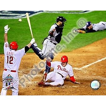 Eric Bruntlett Game trois de la 2008 MLB World Series Game Winning Run Sports Photo