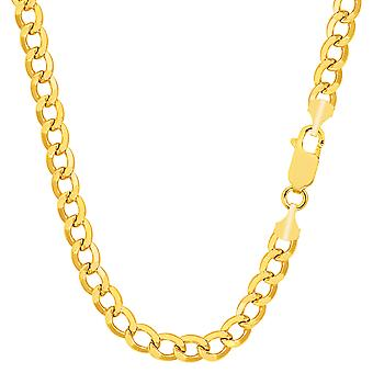 10k Yellow Gold Curb Hollow Chain Necklace, 4.4mm