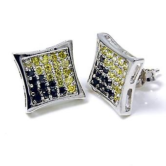 Sterling 925 Silver earrings - micro pave dual