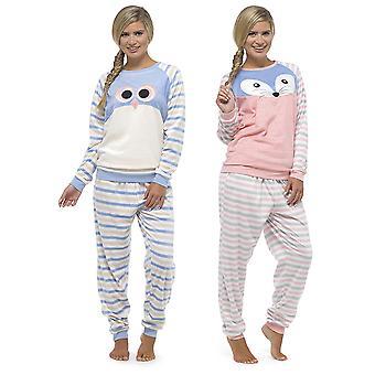 Ladies Foxbury Animal Motif Striped Long Fleece Twosie Pyjama Sleepwear