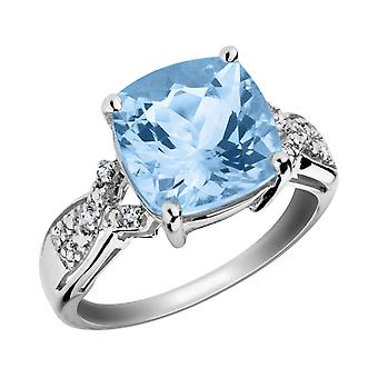 Blue Topaz Ring with Diamonds 4.0 Carat in Sterling Silver