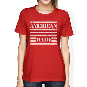 American Made Womens Red Crewneck T-Shirt Gifts For 4th Of July