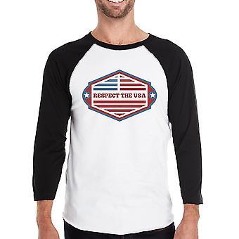 Respektera den USA Mens svart Baseball tröja 3/4 ärm Crew Neck