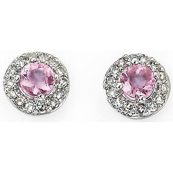 9Ct White Gold, Pink Sapphire And Diamond Earring