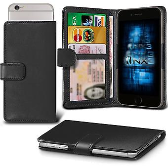ONX3 Cubot P12 Leather Universal Spring Clamp Wallet Case With Card Slot Holder and Banknotes Pocket-Black