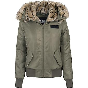 Urban classics ladies jacket imitation fur bomber
