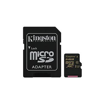 Kingston 64 GB MicroSDHC clase U3 UHS-I 90R/45W adaptador SD