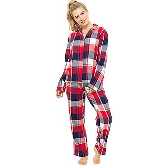Ladies Foxbury Yarn Dyed Plaid Check Long Cotton Rich Pyjama pajama Sleepwear