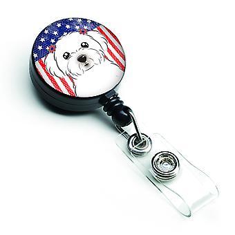 Carolines Treasures  BB2138BR American Flag and Maltese Retractable Badge Reel