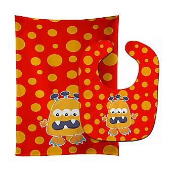 Carolines Treasures  BB7005STBU Little Monster Visonator Baby Bib & Burp Cloth