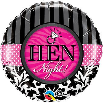 Qualatex 18 Inch Hen Party Stripe & Damask Pattern Circular Foil Balloon