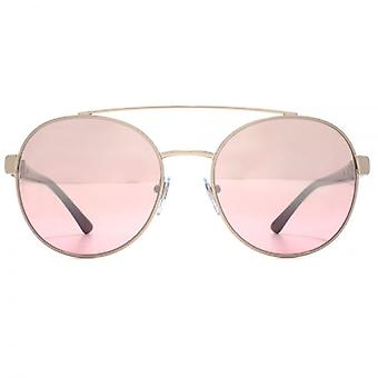 Bvlgari Double Bridge Round Sunglasses In Pink Brown