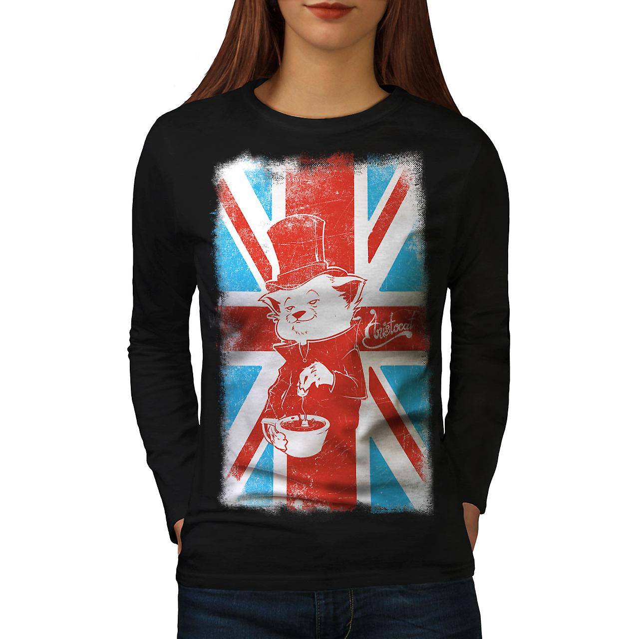 Great Britain Cat Women BlackLong Sleeve T-shirt | Wellcoda