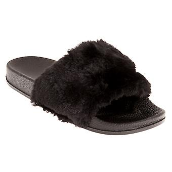 Sand Rocks Womens/Ladies Faux Fur Leatherlook Flip Flops