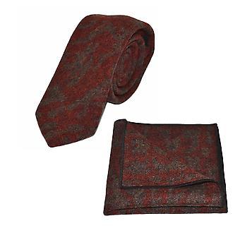 Luxury Arabic Dark Amber Pattern Tie & Pocket Square Set