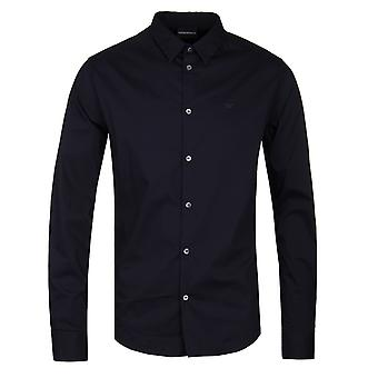 Emporio Armani Navy Slim Fit Textured Shirt