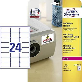 Avery-Zweckform L6141-20 Labels (A4) 63.5 x 33.9 mm Polyester fi