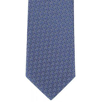 Michelsons of London Interlocking Geometric Polyester Tie - Blue