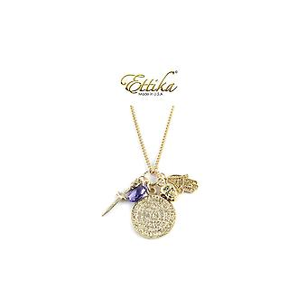 Ettika - Collar necklace Charm's Royal Crystal and gold yellow