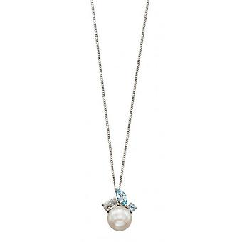 Elements Gold Topaz and Pearl Cluster Pendant - White Gold/White/Blue