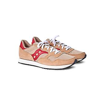 Saucony DXN Vintage Trainer Tan & rot