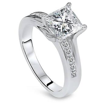 2 5 / 8ct Princess Cut Diamond Engagement Ring 14K witgoud