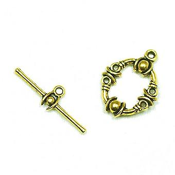Packet 10 x Antique Gold Zinc Alloy Oval Toggle Set Clasps 17 x 21mm Y09585