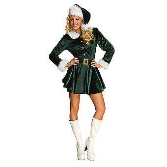 Costume d'assistance elfe vert Noël Sexy Dress du père Noël Up chapeau femme