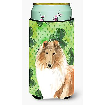 Shamrocks Rough Collie Tall Boy Beverage Insulator Hugger