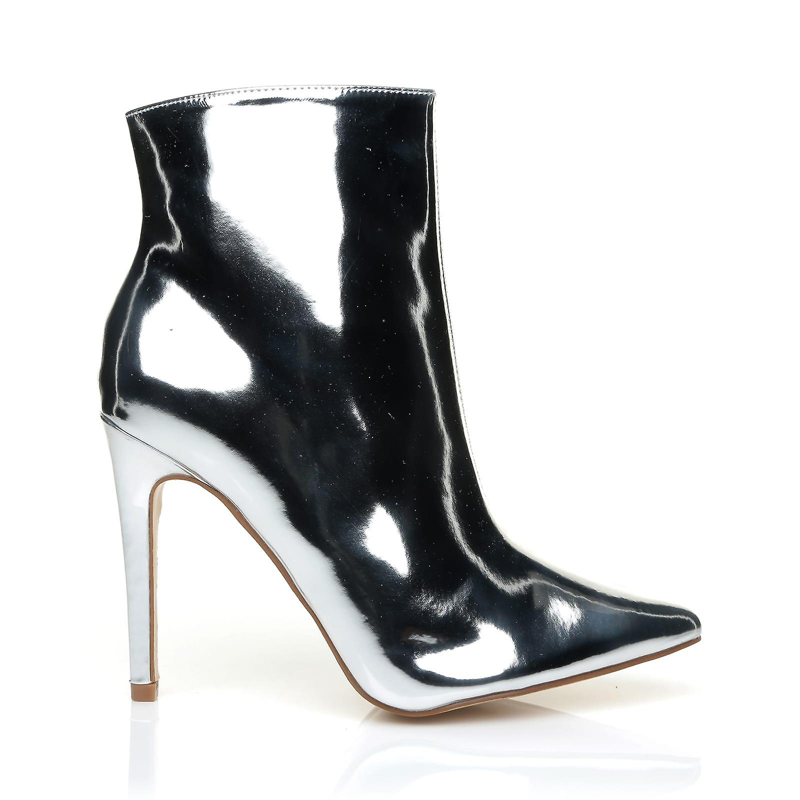 DISCO Chrome Silver Mirror Metallic High Heel Pointed Ankle Boots