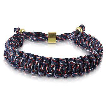Le capitaine tressé bracelet bracelet bracelet tressé en nylon bleu/rouge or 7176