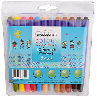 Manuscript Colour Creative Markers Broad Tip 12/Pkg-Portrait