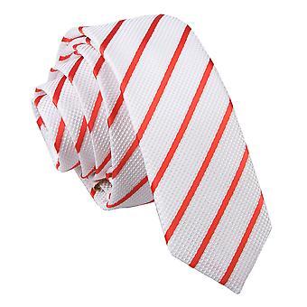 White & Red Single Stripe Skinny Tie