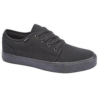 Boys 4 Eye Lace Up Canvas Casual Smart Deck Trainers Shoes