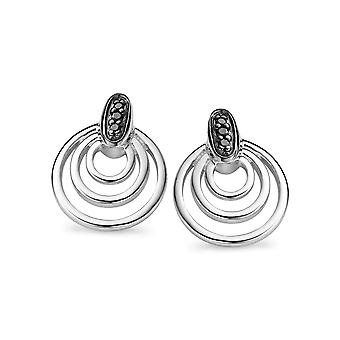 Orphelia sølv 925 ørering inderste cirkler sort Zirconium ZO-5023