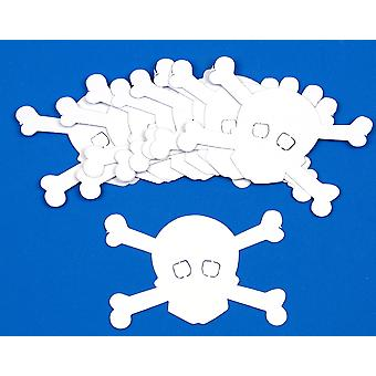 10 Pirate Skull & Crossbones White Card Shapes for Crafts