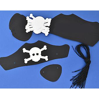 100 Black Card Pirate Hats & Patches Kit for Kids Group Crafts