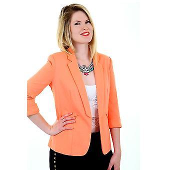 Ladies 3/4 Turned Up Sleeve Open Front Women's Smart Office Blazer Jacket