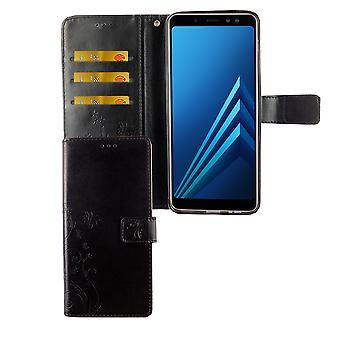 Samsung Galaxy A6+ Plus 2018 Handy-Hülle Schutz-Tasche Cover Flip-Case Kartenfach Schwarz